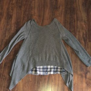 Sweater with flannel back